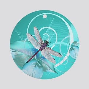 Cute Dragonfly Aqua Abstract Floral Round Ornament