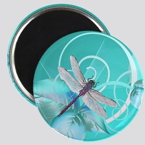 Cute Dragonfly Aqua Abstract Floral Swirl Magnet