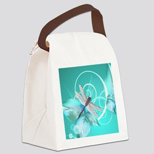 Cute Dragonfly Aqua Abstract Flor Canvas Lunch Bag