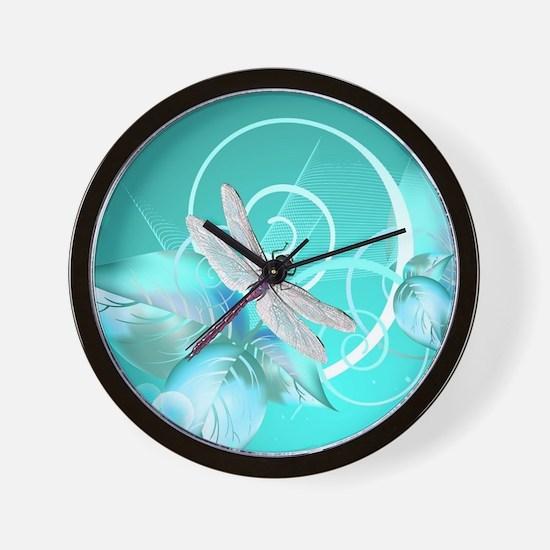 Cute Dragonfly Aqua Abstract Floral Swi Wall Clock