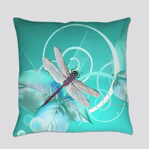 Cute Dragonfly Aqua Abstract Flora Everyday Pillow