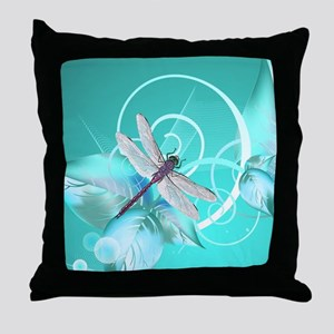 Cute Dragonfly Aqua Abstract Floral S Throw Pillow