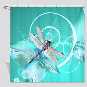 Cute Dragonfly Aqua Abstract Floral Shower Curtain