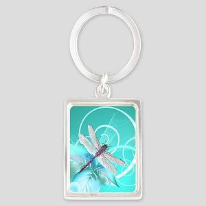 Cute Dragonfly Aqua Abstract Flo Portrait Keychain