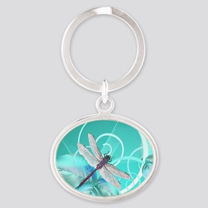 Cute Dragonfly Aqua Abstract Floral  Oval Keychain