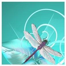Cute Dragonfly Aqua Abstract Floral Swirl Poster