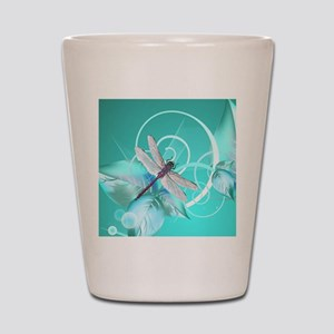 Cute Dragonfly Aqua Abstract Floral Swi Shot Glass