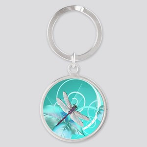 Cute Dragonfly Aqua Abstract Floral Round Keychain