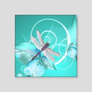 "Cute Dragonfly Aqua Abstrac Square Sticker 3"" x 3"""