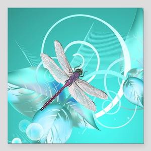 "Cute Dragonfly Aqua Abst Square Car Magnet 3"" x 3"""