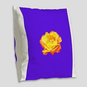 Yellow Rose Burlap Throw Pillow