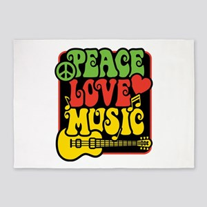 Rasta Peace Love Music 5'x7'Area Rug