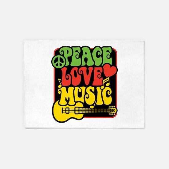 Rasta Peace Love Music 5'x7'Area Rug
