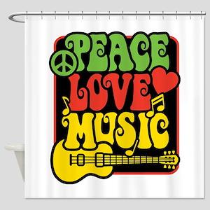 Rasta Peace Love Music Shower Curtain