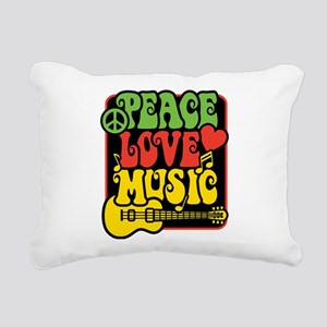 Rasta Peace Love Music Rectangular Canvas Pillow