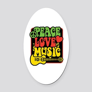Rasta Peace Love Music Oval Car Magnet
