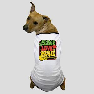Rasta Peace Love Music Dog T-Shirt