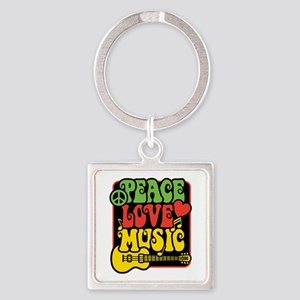 Rasta Peace Love Music Keychains