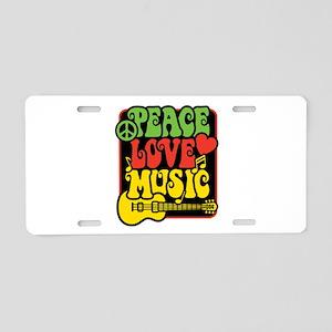 Rasta Peace Love Music Aluminum License Plate