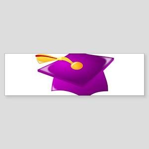 Purple Grad Cap Bumper Sticker