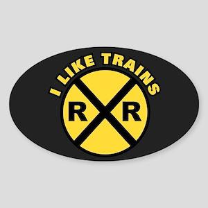 I Like Trains Sticker (Oval)