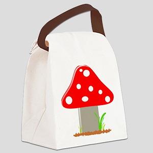 Red Little Mushroom Canvas Lunch Bag