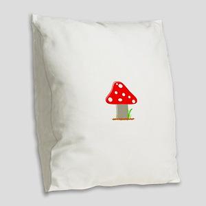 Red Little Mushroom Burlap Throw Pillow