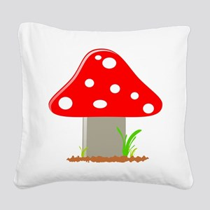 Red Little Mushroom Square Canvas Pillow