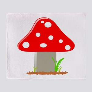 Red Little Mushroom Throw Blanket