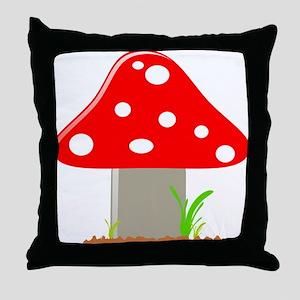 Red Little Mushroom Throw Pillow