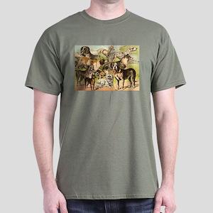 Dog Group From Antique Art Dark T-Shirt
