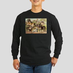 Dog Group From Antique Art Long Sleeve Dark T-Shir