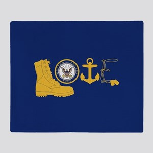 Navy Love Throw Blanket