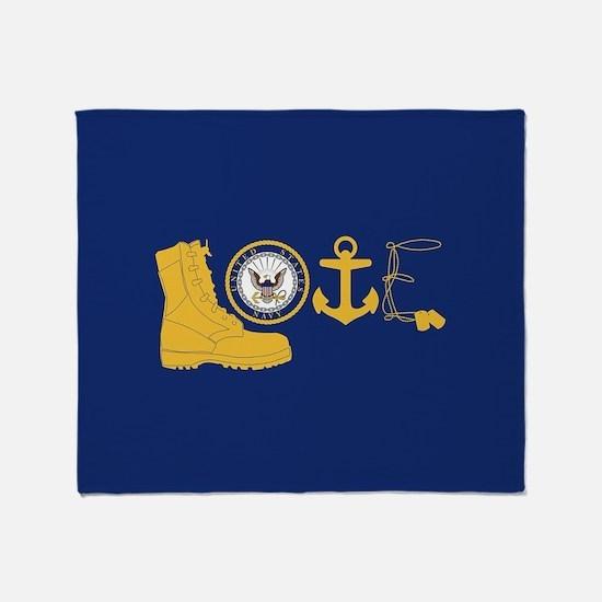 Navy Love Throw Blanket