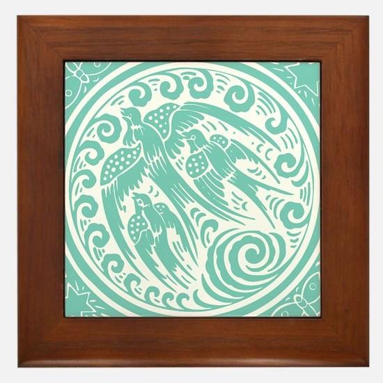 Vintage Art Nouveau Birds Framed Tile