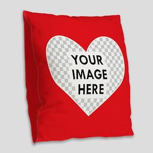 CUSTOM Heart Photo Frame Burlap Throw Pillow