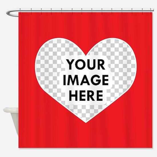 CUSTOM Heart Photo Frame Shower Curtain