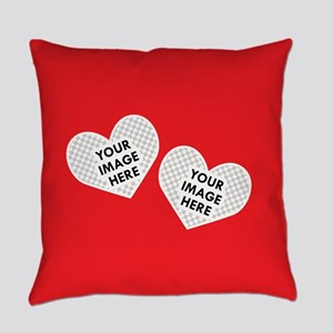 CUSTOM Two Heart Photo Frame Everyday Pillow