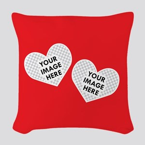 CUSTOM Two Heart Photo Frame Woven Throw Pillow