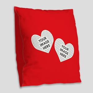 CUSTOM Two Heart Photo Frame Burlap Throw Pillow