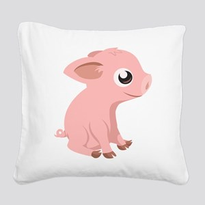 Baby Pig Square Canvas Pillow