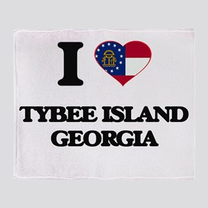I love Tybee Island Georgia Throw Blanket