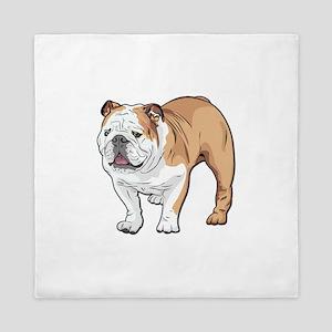 bulldog without text Queen Duvet
