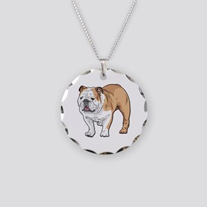 bulldog without text Necklace Circle Charm