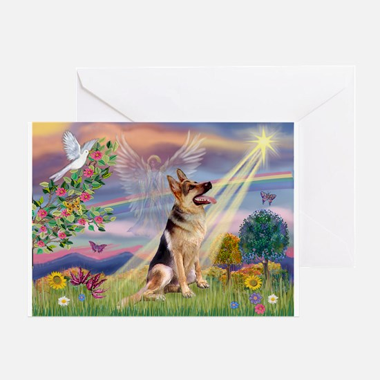 Cloud Angel & G-Shepherd Greeting Card