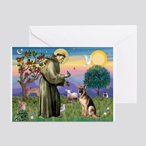 St Francis & G-Shepherd #2 Greeting Card