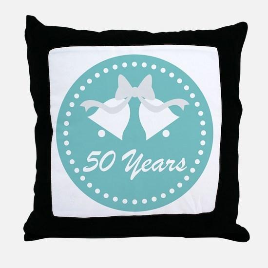 50th Anniversary Wedding Bells Throw Pillow