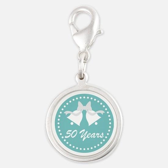 50th Anniversary Wedding Bells Silver Round Charm