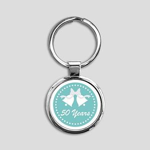 50th Anniversary Wedding Bells Round Keychain
