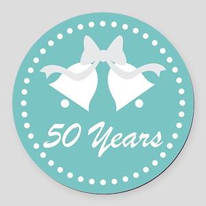 50th Anniversary Wedding Bells Round Car Magnet